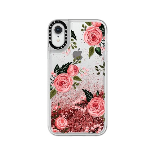 Casetify iPhone XR Glitter Case, Rose Pink Pink Floral Flowers and Roses Chic Feminine