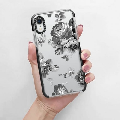 Casetify iPhone XR Glitter Case, Monochrome Silver Black Floral Amour