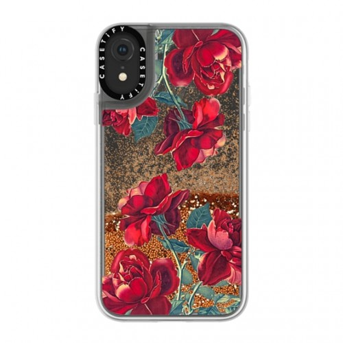 Casetify iPhone XR Glitter Case, Gold Chrome Red Roses (Transparent)