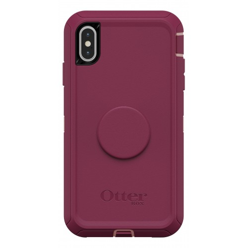 """OtterBox Otter + Pop iPhone Xs Max 6.5"""" Defender, Fall Blossom (Pink/Red)"""