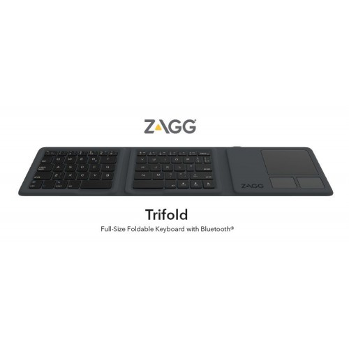 ZAGG Universal Keyboard Tri Folding with Touchpad, Charcoal