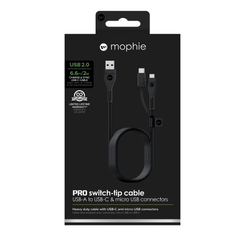 Mophie USB-C to USB-A Pro Switch-Tip-Cable (2 Meter), Black